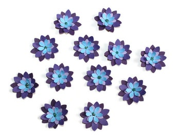 Purple and Blue 3D flowers - set of 12 (F11)