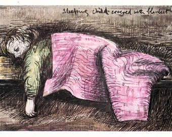 """Henry Moore """"Sleeping Child in a Shelter"""" Postcard -- 1980?, Printed in England"""