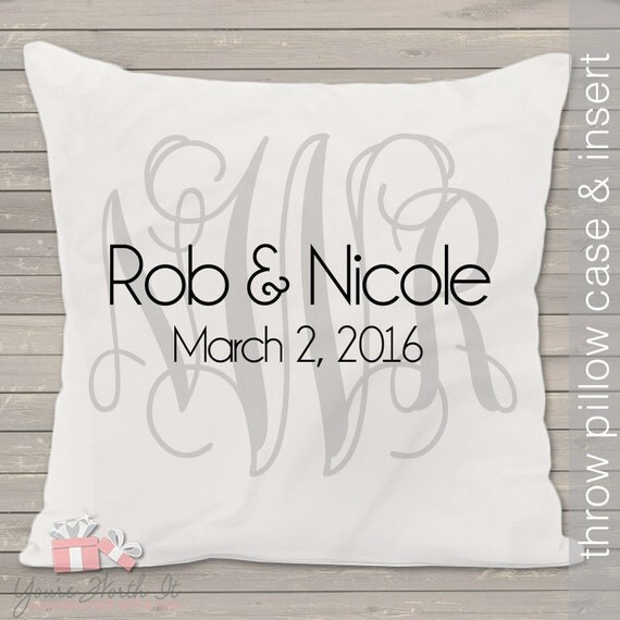 Monogram wedding pillow - THROW pillow size 14 x 14- perfect wedding gift for the newlyweds
