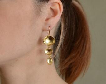 Gold Dangling Earrings, gold earrings, gold dangle earrings, gold drop earrings, gold shell earrings, abstract earrings, abstract earring