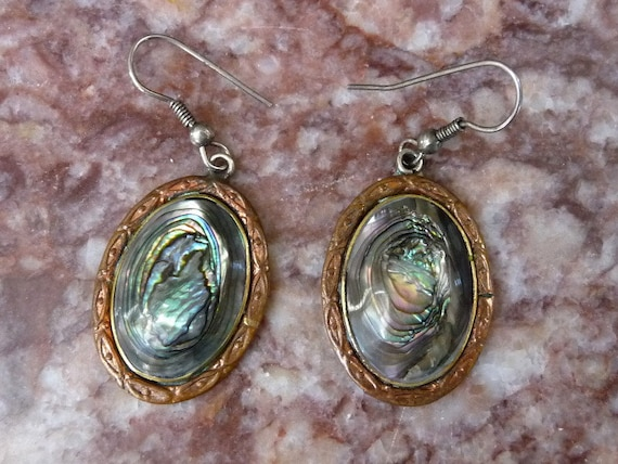 alpaca mexico earrings alpaca mexico abalone dangle earrings one inch 8301