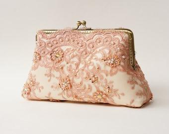 Elegant wedding Lace Silk Clutch in Orange Pastel, Autumn wedding, wedding bag, bridesmaid clutch, Bridal clutch