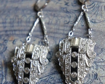 Vintage art deco dress clip assemblage earrings statement rhinestone earrings assemblage jewelry F70- by French Feather Designs.
