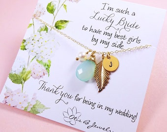 Bridesmaid Gift SET of THREE Bridesmaid thank you necklaces with message cards, Be my bridesmaid, bridal jewelry, Bridesmaid Jewelry