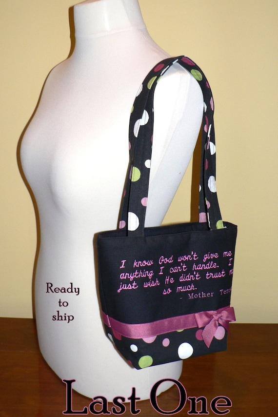 "CLEARANCE Mother Teresa Quote Purse ""Spirodot"" Church purse, inspirational purse, faith bag - ready-to-ship"