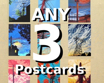 Any 3 Postcards, mix and match, you pick, set of 3 postcards, postcard prints of original fabric artwork, each 4x6 inches
