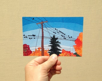 "Postcard ""Autumn Birds on the Wire"", 4x6 inches, high gloss, UV protection, professionally printed"