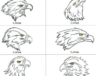 American eagle machine embroidery designs for 4x4 hoop. 10 line designs with filled eyes for simplicity.Downloadable zip or cd is available