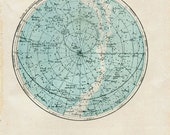 Sky Chart Northern Hemisphere Astronomy Vintage Print 1920s Stars Map