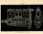 Aeronautical Engineering Print,  Mercedes Aircraft Engine 160 HP,  Black and White Vintage Print, WWI Plane, Gnome Engine