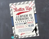 Baseball Printable Birthday Invitation / Personalized Print Your Own Baseball Invite / Sports, Ball, Baseball, Vintage Birthday Invitation