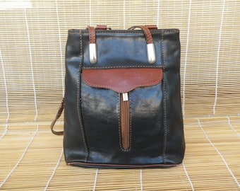Vintage Two Tone Black And Brown Leather Small Size Bag Backpack