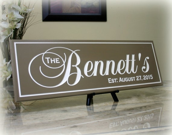 Wedding Gift Name Sign : ... Name Sign Carved Wood Sign Family Established Sign Wedding Gift Sign