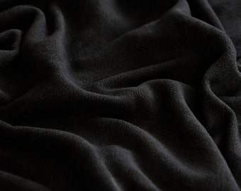 Black Bamboo & Organic Cotton Fleece Fabric by the Yard