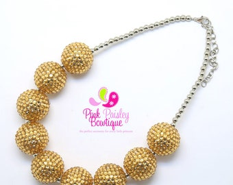 GOLD Bubblegum necklace,Chunky bubbleGum necklace, Gold baby necklace, chunky baby necklace, girls sparkle necklace, 1st Birthday Necklace