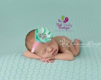 Mint Baby Headband - Baby Girl Headbands - Infant Headbands - Baby Hair Accessories - Baby hairbows - Couture Headband - Baby Bows - Pink
