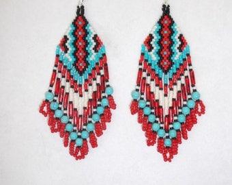Native American Style Beaded Rug Earrings Black, White, Red and Turquoise Boho, Southwestern, Hippie Geometric, Brick Stitch