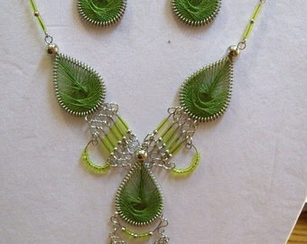 SALE Native Tribal Dream Catcher Beaded Lime Green Thread Necklace and Earrings Southwestern, Boho, Hippie, Ready to Ship