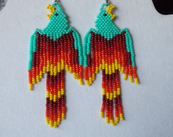 Native American Style Beaded Phoenix Earrings Turquoise Red Orange Yellow Southwestern, Hippie, Boho, Brick Stitch, Peyote, Great Gift