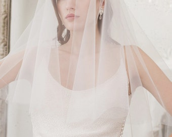 Wedding Veil, Cut edge Wedding Veil, Two Tier Wedding Veil, Fingertip length veil, Fingertip veil, white veil, ivory veil, off white veil