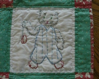 Red and Green Hand Embroidered Kitten Quilt