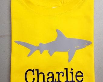 Shark  shirt for boys, personalized shark birthday t shirt, boys shark party shirt