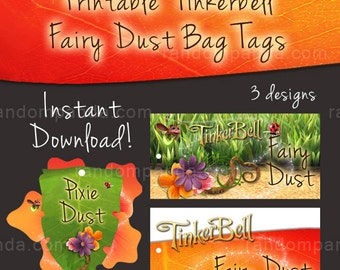 Printable Tinkerbell Fairy Dust Bag Tags, Pixie Dust Labels