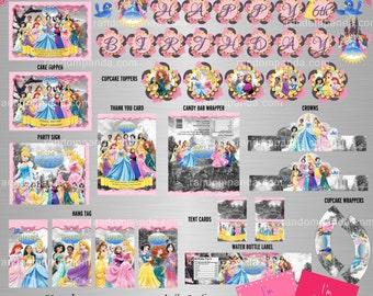 YOU PRINT Disney Princess Party Package, Disney Princesses Birthday Bundle