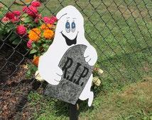 Ghost and Gravestone R.I.P Yard Sign / Decor / Art