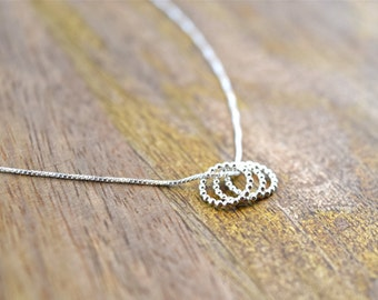 Sterling Silver Necklace Beaded Loop Trio