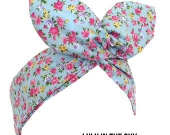 Light blue with pink mini floral print wire headband Pin up