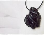 Black Stone Necklace, Dark Elf Pendant, Gothic Necklace, Goth Lolita Pendant, Vampire Necklace, Victorian Pendant, Fairy Wicca Necklace