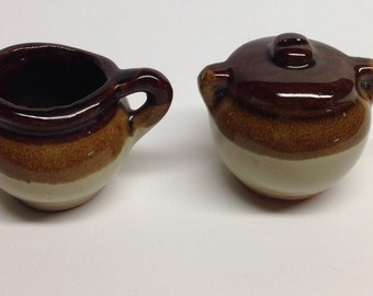 Brown and White Stoneware Sugar Bowl and Creamer Dollhouse Miniatures Crock