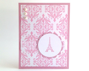 Eiffel Tower Card - Blank Paris Card - French Card - Pink Damask Card - Any Occasion Card - Girly Hello Card - Bonjour Just Because Card