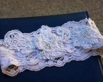 Bridal Lace Garter -Beaded Lace Wedding Garter, Crystal Garter, Ivory Garter, Off White, Lace Garter Wedding, Garter Belt, Pearl Garter