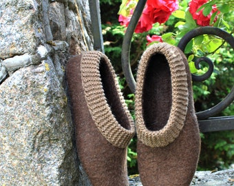 Women house shoes - Felted womens slippers - wool slippers - merino wool - made to order - brown - organic wool