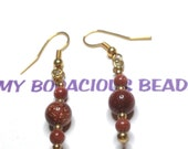 """Handmade 2"""" Dangle EARRINGS  Copperish GOLDSTONE and Golden Accents and Wires"""