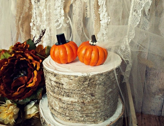 Pumpkin Fall Wedding Cake Topper Fall Themed Wedding Bride And