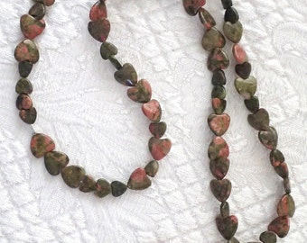 Carved Heart Fish Jasper Pendant on Heart Necklace 24 inch
