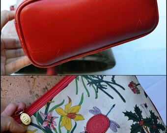 Authentic Vintage Gucci Floral Shoulder Crossbody Bag, Rare Vintage Gucci Flora bag Gucci Purse Red