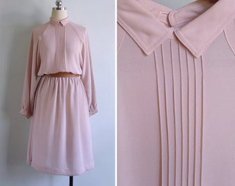 15% SALE (Code In Shop) - Vintage 80's Powder Pink Pintuck Pointed Collar Dress L or XL