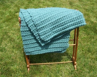 Beautiful, Warm, Hand-Crocheted Popcorn or Bobble Stitch Afghan -- FREE SHIPPING