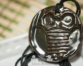 Shiney Owl Oil Diffuser Necklace | Lisa C. Warren | Handmade | Aromatherapy Natural Medicine