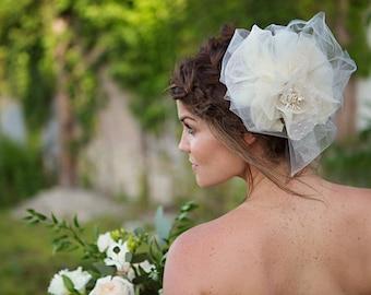 Large Flower Headpiece, Bridal Wedding Hair Accessory - Glory