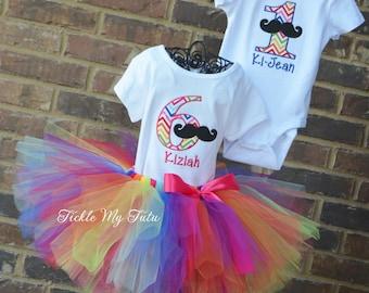 Boy/Girl Twin Mustache Bash Birthday Outfits in Rainbow Chevron-Twin Mustache Birthday Outfit-Mustache Bash Birthday Tutu Set