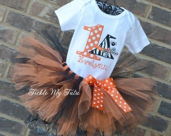Halloween Birthday Outfit-Wacky Witch Hat with Spider Birthday Number Halloween Tutu Outfit-Halloween Birthday/Pageant Tutu Outfit
