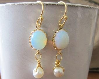 Opal Earrings with Pearl, Gold Dangling Earrings, Bridal Earrings for Wedding, Bridesmaid Gift White Moonstone Dangling Drop Earrings