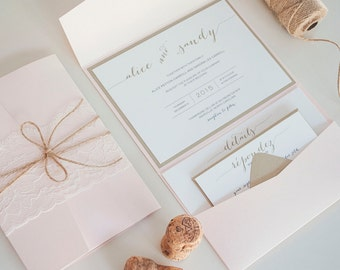 "Blush and Gold Wedding Invitation, Pocketfold, Rustic Vintage Wedding Invitation, Lace - ""Sophia"" - Customizable - Sample"