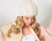 Noel Christmas Chunky knit hat, White beanie slouch hat, Undyed organic merino wool slouchy beanie, Fashion gifts for Men | Women