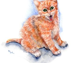 Custom Pet Portrait - Original Watercolor  - 8''x10'' whimsical happy smiling cat tabby red nursery baby shower unique gift goosi studio